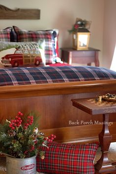 Seasonal Simplicity - Back Porch Musings - love all these plaids, pillows and greenery Tartan Christmas, Christmas Home, Rustic Christmas, Christmas Stuff, Winter Christmas, Tartan Decor, Tartan Plaid, Blue Plaid, Scottish Decor