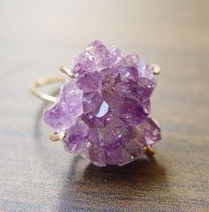 Amethyst Crystal Druzy Ring