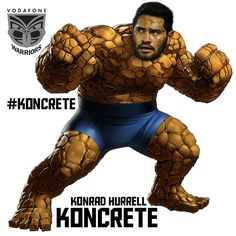Konrad Hurrell runs into defenders like a wrecking ball. It's like tackling a concrete block