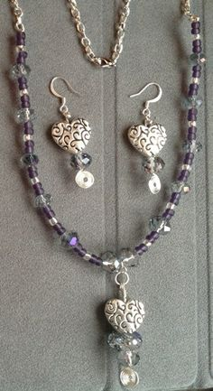 Purple Haze glass and crystal beaded necklace and earrings | Bnbcrafts - Jewelry on ArtFire