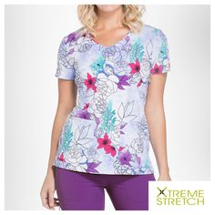 2060eab2cf3 Dickies Xtreme Stretch Island Orchid V-Neck Print Scrub Top. Scrubs Uniform  ...