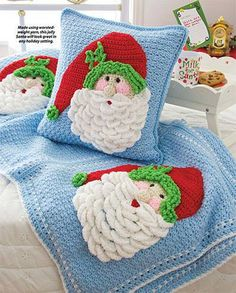 Santa Afghan & Pillow crochet pattern from Christmas in Crochet. The publication includes 60+ merry designs! Order here: http://www.anniescatalog.com/detail.html?prod_id=103457