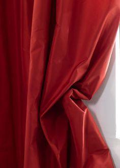 Red Silk Taffeta Curtain Panels