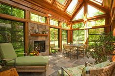 craftsman style conservatory - mine would be scaled down and minus the fireplace.  ;)