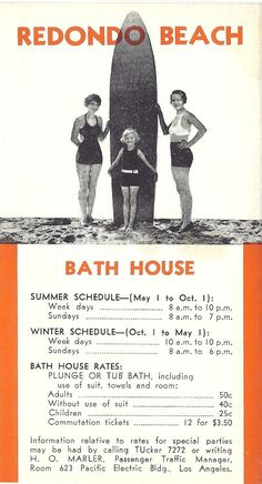 Old Redondo Beach California Bath House Ad.