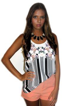modern edge top #black #black-and-white #edgy #floral #flowers #medium #modern #retro #shirt #small #striped #stripes #summer #tank #top #white