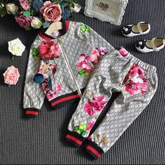 Girls Gucci Inspred Trousers with Matchig Jacket.Delivery on this product is around 21 days Cute Baby Girl Outfits, Kids Outfits Girls, Girls Fashion Clothes, Baby Girl Fashion, Toddler Fashion, Kids Fashion, Baby Girls, Gucci Baby Clothes, Designer Baby Clothes