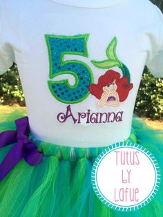 Ariel Inspired Embroidered Birthday Shirt by TutusbyLafue on Etsy https://www.etsy.com/listing/226868916/ariel-inspired-embroidered-birthday