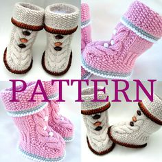 Knitting PATTERN Baby Booties Baby Shoes Infant Knitted Baby