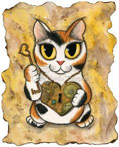 Steampunk Cat Valentine Kitten Victorian Cat Painting Chibi Cat Heart Locket Key Big Eye Whimsical Cat Art Print 8x10 Cat Lovers