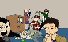 """Supernatural Draw-The-Squad (COLOURED). Crowley, Castiel, Lucifer, Adam, Sam, Dean, and Bobby."""