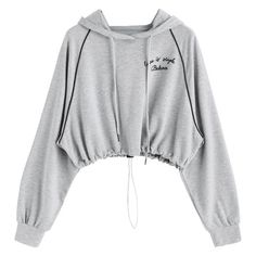 Gathered Hem Letter Cropped Hoodie Gray ($30) ❤ liked on Polyvore featuring tops, hoodies, zaful, hooded sweatshirt, hooded pullover, sweatshirt hoodies, grey cropped hoodie and gray hoodie