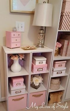 Pink and White Damask Craft Room Storage Boxes