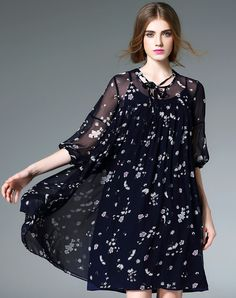#VIPme Dark Blue Silk Floral Print Midi Swing Dress ❤ Get more outfit ideas and style inspiration from fashion designers at VIPme.com.