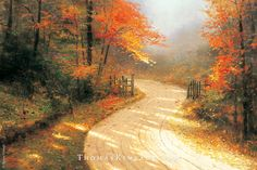 "Thomas Kinkade painted ""Autumn Lane"" in 1995.  He loved Fall, and painted the open gate to invite people into this painting and experience the splendor of the season. #ThomasKinkade #Autumn #art"