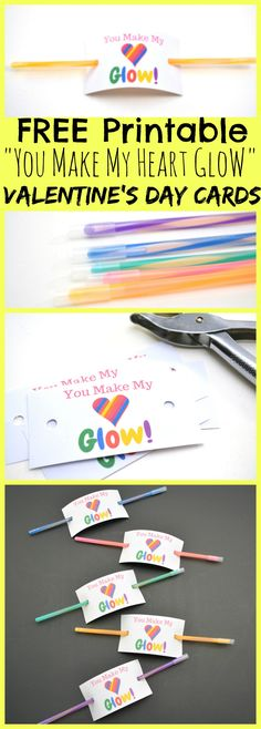 "Glow Stick Valentine's Day cards! For under $10 you can make over 100! FREE Printable ""You Make My Heart Glow"" Valentine's Day Cards for classmates and classroom parties at school! What a fun sugar free non-candy idea!"