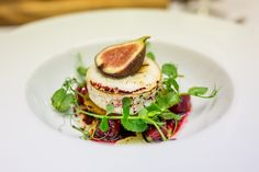 Grilled goats cheese and Mediterranean vegetable tartlet