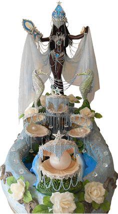 Stunning Yemaya altar with pearls and seashells. Oshun Y Yemaya, Oshun Goddess, African Mythology, African Goddess, Yoruba Orishas, Voodoo, Yoruba People, Yoruba Religion, Black Women Art