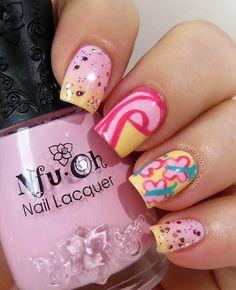 My Little Pony Fluttershy nail art