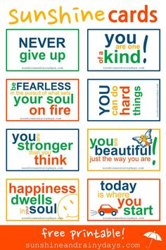 It Forward In Style With Sunshine Cards! Print your own set of our FREE Printable Sunshine Cards and get ready to pay it forward in style when an opportunity presents itself! via and Rainy DaysCard Card may refer to: The Card may refer to: Kindness Notes, Kindness Matters, Kids Lunch Box Notes, Kindness Activities, Kindness Projects, Kindness Challenge, Motivational Quotes, Inspirational Quotes, Pay It Forward
