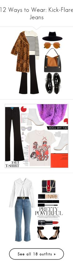 """""""12 Ways to Wear: Kick-Flare Jeans"""" by polyvore-editorial ❤ liked on Polyvore featuring waystowear, kickflarejeans, M.i.h Jeans, Yves Saint Laurent, Gucci, Vince, STELLA McCARTNEY, Maison Michel, MM6 Maison Margiela and Chanel"""