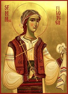Today we celebrate the Virginmartyr Filofteia of Argesh, Protectress of Romania. Saint Filofteia's mother died while she was still young and her father remarried. Byzantine Icons, Byzantine Art, Religious Icons, Religious Art, Roman Church, Religious Paintings, Best Icons, Orthodox Christianity, Orthodox Icons