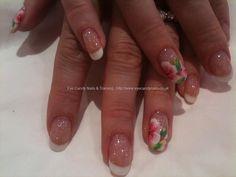 One stroke nail art on White French polish