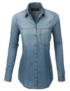 LE3NO Womens Oversized Chambray Long Sleeve Button Down