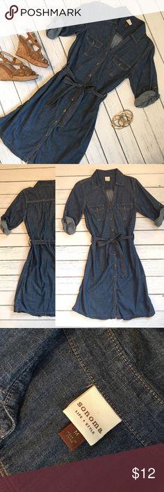 Button-Up Jean Dress Size M Great lightweight denim belted dress. Sonoma Dresses