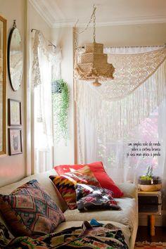 cortina, xale de renda