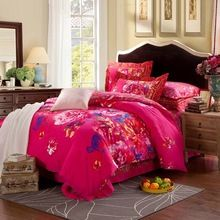 100% cachecol de algodão conjuntos de cama de casamento de luxo flor inverno roupa de cama Queen / rei capa de edredão calor preservação(China (Mainland))