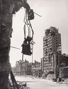 Ruins of Warsaw's Napoleon Square in the aftermath of World War II.