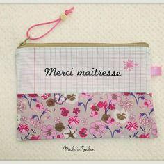 "Trousse "" merci maîtresse "" tissu écolier et fleuri liberty"