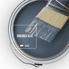 Behr Durango Blue paint color is a lovely denim blue. #behrdurangoblue #paintcolors #bestbluepaint #bluepaintcolors #denimblue