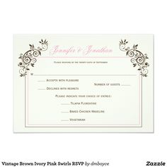 Vintage Brown Ivory Pink Swirls RSVP 3.5x5 Paper Invitation Card