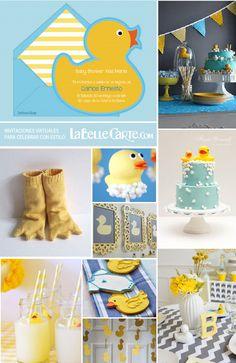 Invitaciones para baby shower de patitos de goma amarillo ideas fiesta menu decoracion LaBelleCarte Invitaciones: www.LaBelleCarte.com