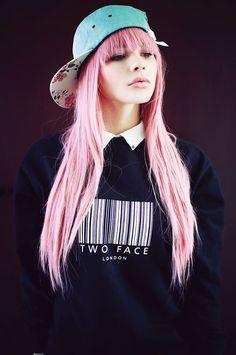 pink pastel hair grunge