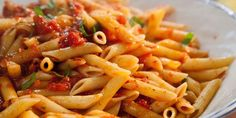 """Spicy Arrabiata Penne (Best Girls' Night In) - Valerie Bertinelli, """"Valerie's Home Cooking"""" on the Food Network. Meatless Pasta Recipes, Penne Recipes, Spaghetti Recipes, Top Recipes, Brunch Recipes, Vegetarian Recipes, Chicken Recipes, Cheap Recipes, Noodle Recipes"""