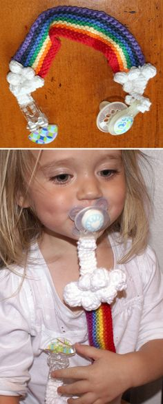 Free Knitting Pattern for Rainbow Pacifier Keeper - Quick baby shower gift of rainbow strap with clouds that you can sew to pacifier and clip. Or sew snaps on each end for easy cleaning as ATexasYarn did. Designed by Sarah Turpin.