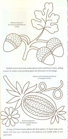 acorns flower embroidery or redwork. Historic quilt pattern. This might work with rug hooking and penny rug appliqué.