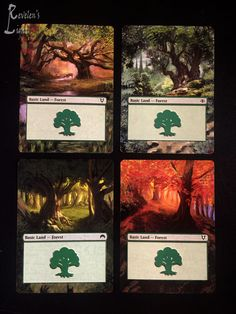 4x Forest - Full Art - MTG Alter - Revelen's Light Altered Art Magic Card