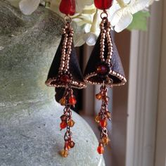 Cherry red and amber gumdrop dangle earrings by kimberlyddesigns