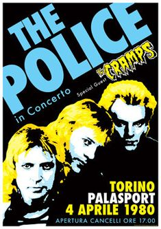 The Police and The Cramps Concert Poster - The Cramps were also managed by Miles Copeland.