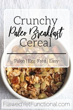 Cold cereal for breakfast while on the Paleo diet? Yes, it can happen! This coconut-based cereal is crunchy and filling, and best yet, it's quick to make! Try this cereal the next time you need a fast, healthy breakfast! ~Flawed yet Functional