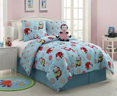 3 Piece Kids/teens Twin Reveresable Comforter Set Pink Blue Lady Bug Design Luxury Bed-in-a-bag-furry Friend Included Bed Sets, Twin Comforter Sets, Bedding Sets, Teen Bedding, Girls Bedroom, Bedroom Decor, Bedroom Ideas, Little Girl Rooms, Furniture