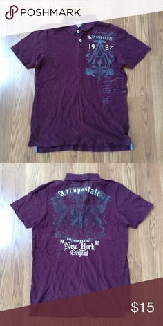 Aeropostale Graphic Polo Burgundy graphic polo shirt. 100% cotton. Condition: Very good. Actual color may vary slightly from pics. Aeropostale Shirts Polos