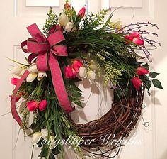 Spring Wreath, Easter Wreath, Welcome Wreath,Tulip Wreath, Floral Wreath, Door Wreath, Pink Wreath, Home Decor, Geenery Wreath by LadySlipperWreaths on Etsy