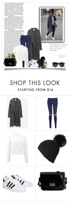 """Untitled #124"" by amina-haskic ❤ liked on Polyvore featuring Zara, 7 For All Mankind, T By Alexander Wang, adidas and Le Specs"