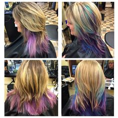 Before and after Blonde Teal  Purple Blue Color melt  Layers