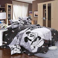 un design de lit mickey en noir et blanc